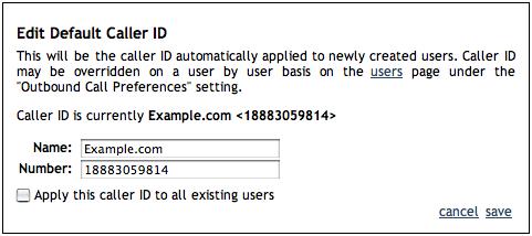 account edit caller id