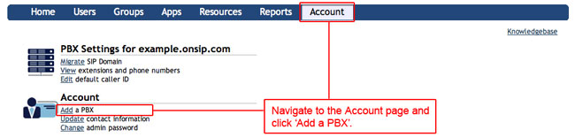 kb account add a pbx