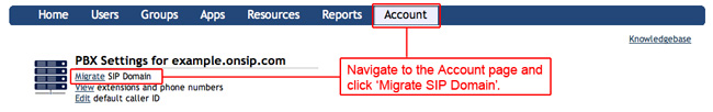 kb account migrate sip doma